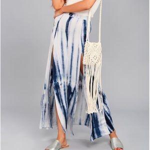 NWT Lulu's Blue Tie-Dye Long Skirt
